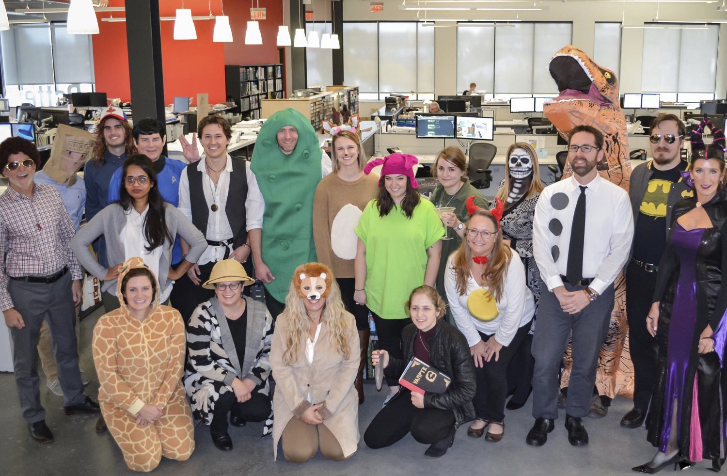 Group staff photo in costumes from Halloween 2018