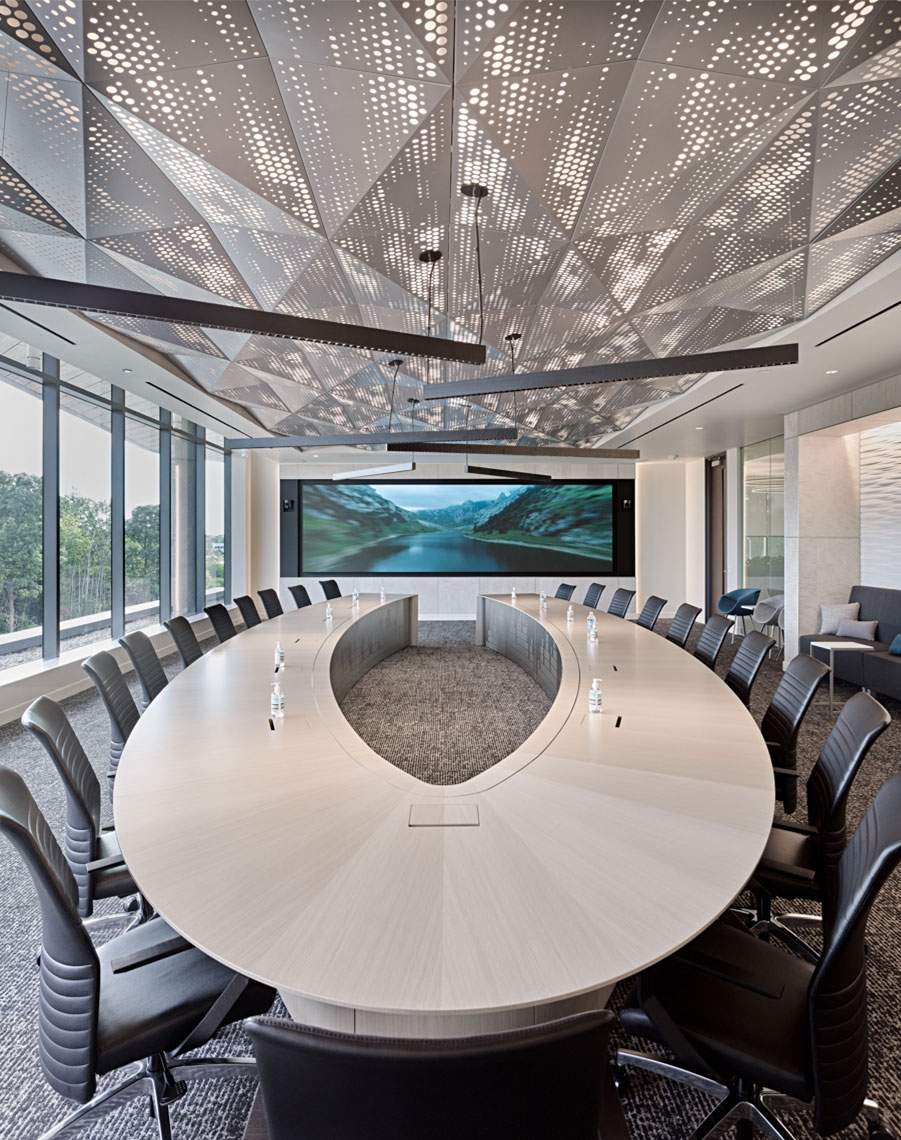 exact sciences modern board room design with custom conference table